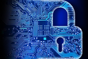 Cyber security concept with lock